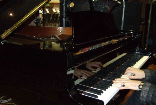 Chris at the Steinway D