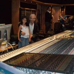 Chris and daughter Lisa behind the Neve console at AIR Studios, while engineer Nick Wollage looks on